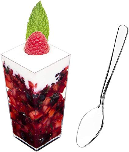 DLux 100 x 3 oz Mini Dessert Cups with Spoons, Square Tall - Clear Plastic Parfait Appetizer Cup - Small Reusable Serving Bowl for Party Desserts Appetizers - With Recipe Ebook