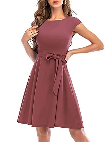 DRESSTELLS Damenkleider elegant Rundausschnitt Retro Swing Kleid Cocktailkleid Sommerkleid Kurzarm Knielang Short- Raspberry 2XL