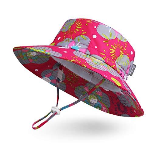 Ami & Li tots Baby Sonnenhut Wasserdicht Einstellbar Outdoor Eimer Hut Angeln Wandern Camping für Mädchen Jungen Säugling Kind Kleinkind UPF 50 - L: Blumen und Matroschka