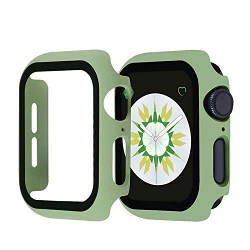 MPWPQ 360 Protector de Pantalla Completa Marco de Parachoques Matte Matte Funda para el Reloj de Apple SE 6/5/4/3/2/1 Cubierta Película de Vidrio Templado para iWatch 4/5 Reloj Correa