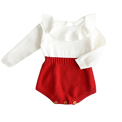 Baby Girls Romper Knitted Ruffle Long Sleeve Jumpsuit Baby Kids Girl Romper Autumn Winter Casual Clothing (6-12 Months, Red)