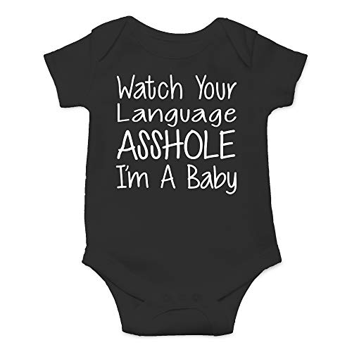 CBTwear Watch Your Language I'm A Baby Funny Romper Cute Novelty Infant One-piece Baby Bodysuit (6 Months, Black)