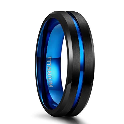 Tigrade Titanium Ring 6mm 8mm Blue Centre Groove Wedding Band Comfort Fit Matte for Men Women (6MM, 10)