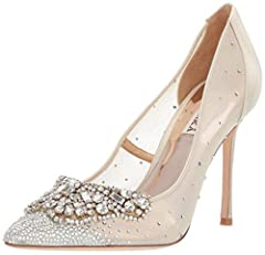 It's your big day or just it's just a day! Either way you rock in these Badgley Mischka® Quintana heels. Textile upper. Pointed silhouette. Slip-on design. Crystal-embellished details with lovely broach attachment at toe. Textile lining and insole.  ...