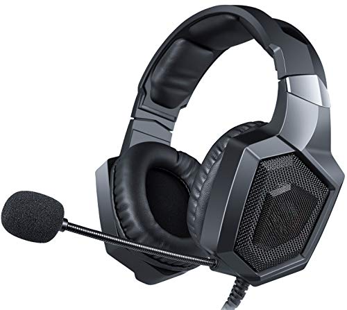 PS4 Gaming Headset für PC, Xbox One, LED-Licht Gaming Kopfhörer mit Mikrofon für Computer Laptop Nintendo Switch Spiele (Schwarz)