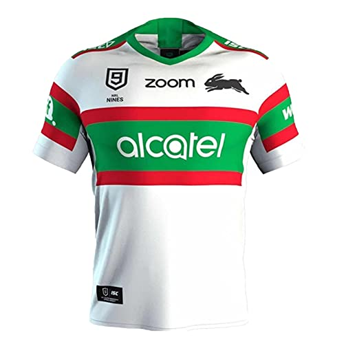YAQA Maglia da Rugby da Uomo,2021 South Sydney Rabbitoh Rugby Polo Shirt Training T-Shirt,Supporter Football Sport Top White-M