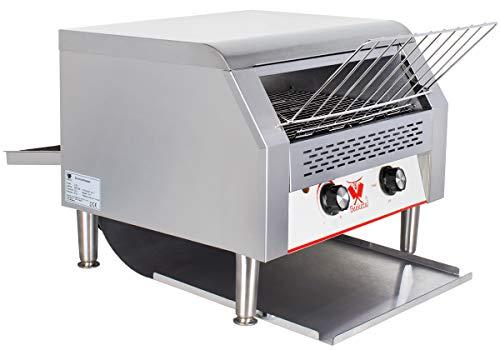 Beeketal 'DTB-3' Profi Gastro Durchlauftoaster aus Edelstahl mit Zugabefach für 3 Toastscheiben, Toaster mit 7 Geschwindigkeitsstufen und 3 Toast Bräunungsgrade einstellbar, inkl. Krümelschublade