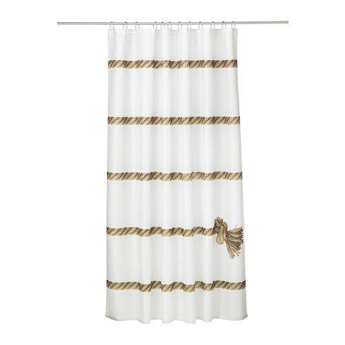IKEA LISEL Duschvorhang, weiß, beige 200x180 cm (Motiv Knoten, Angeln)