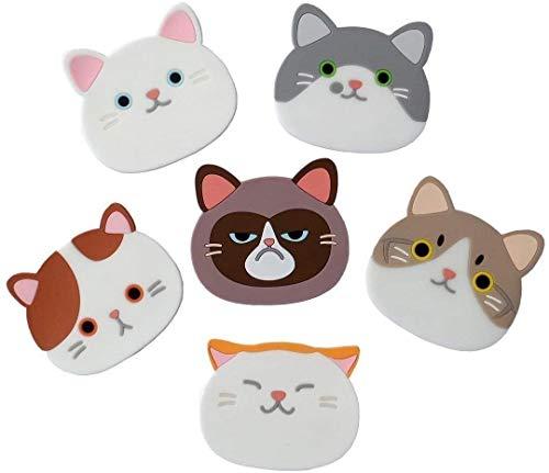 Set di 6sottobicchieri carini, tappetini in gomma di silicone con musi di gatto, per tazze da tè, bicchieri di vino, idea regalo per la casa