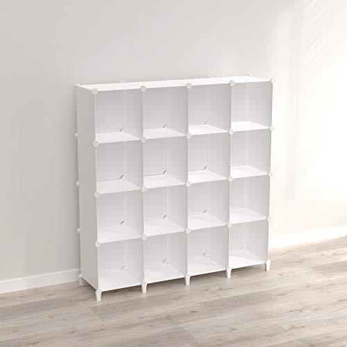 SIMPDIY Storage Modular Cubes 16 cubes White (124x124x30cm) Plastic Portable Organizer Bookshelf Shelf Rack
