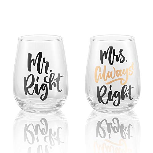Mr Right and Mrs Always Right Wine Glass Set