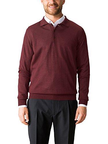 Walbusch Herren Merino Mix Polo Pullover einfarbig Bordeaux 48