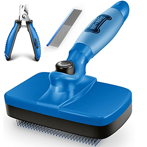 Ruff 'n Ruffus Upgraded Self-Cleaning Slicker Brush + Free Pet Nail Clippers+ Free Comb   Upgraded Gel Handle   Cat Dog Brush Grooming Gently Reduces Shedding & Tangling for All Hair Types