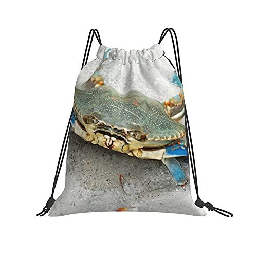 Blue Crab Chesapeake Bay Drawstrings Mochilas bolsas para hombres y mujeres niños gimnasio cordones bolsa grande