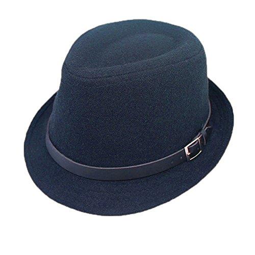 Unisex Fashion Semplice Autunno-Inverno 5 Opzioni di Colore Decorazione della Cinghia Cappello di Jazz Blu Marina