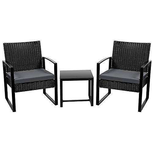 Yaheetech 3 Pieces Rattan Garden Furniture Sofa Sets, Patio Wicker Conservatory 2 Seater Bistro Set Indoor Outdoor Sofa Sets