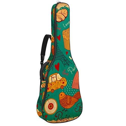 Funda para guitarra reforzada con esponja gruesa y acolchado extra para guitarra, soporte para cuello, soporte trasero, para guitarra acústica, clásica, retro, vintage, Torre Eiffel, pastel de