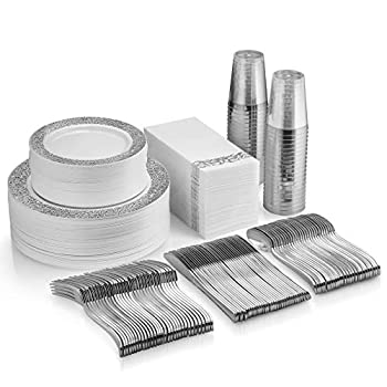 350 Piece Silver Dinnerware Set - 50 Guest Silver Lace Design Plastic Plates - 50 Silver Plastic Silverware - 50 Silver Cups - 50 Linen Like Silver Napkins 50 Guest Disposable Silver Dinnerware Set