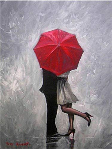 N/O Verf Door Getallen Rode paraplu paar Schilderen door Getallen Kits voor Beginners Volwassenen DIY Hand Geschilderd met Borstels en Acryl Pigment 16x20 inch Frameless
