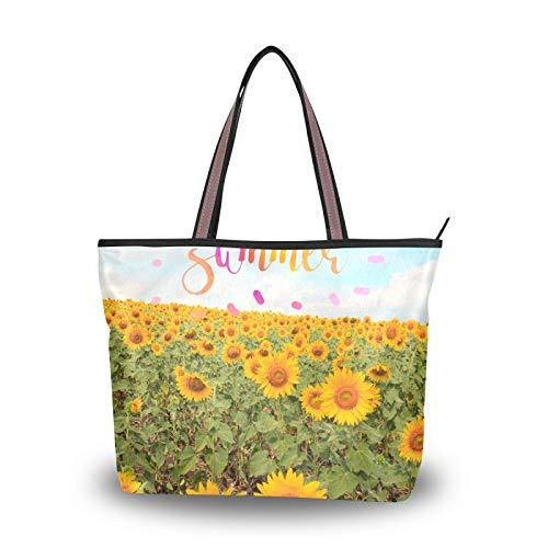 Bolso de mano, bolsos de mano, campo de flores de verano para mujeres, niñas, estudiantes, correa de peso ligero, bolsos de hombro, monedero, compras