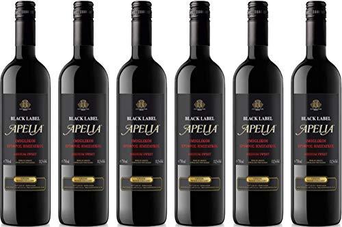 6x 0,75l Apelia Black Label | Lieblicher Rotwein | Imiglykos | 11,5% Vol. | Kourtaki | + 1 x 20ml Olivenöl von Kreta
