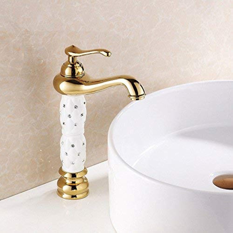 HUAIX Home Waschbecken-Mischbatterie Badezimmer-Küchen-Becken-Hahn auslaufsicher Wasser sparen Goldene Küche warm und kalt Single Style