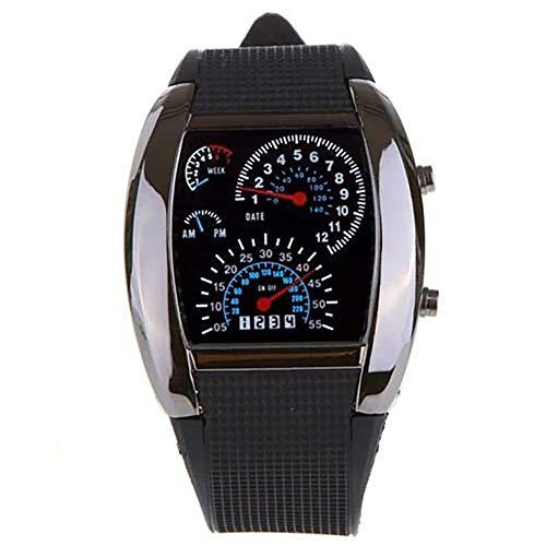 Digtal Reloj LED para hombre, velocímetro digital de goma, reloj deportivo masculino, color negro, reloj de pulsera JLY