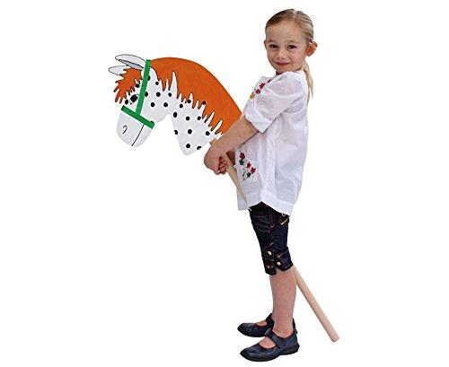 Betzold 54101 - Holz-Steckenpferd zum Selbstgestalten - Spielzeugpferd Spielpferd Holzpferd Kinder Stiel Basteln Kindergarten selbst gestalten