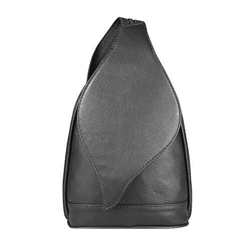 OBC Made in Italy Damen echt Leder Rucksack Lederrucksack Tasche Schultertasche Ledertasche Nappaleder Handtasche (Schwarz 17x28x9)
