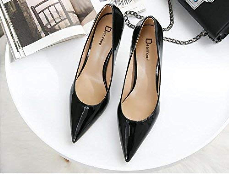 Gericht Schuhe Einzelne Schuhe weibliche frische High Heels Frau zeigte fein mit Brautschuhe Hochzeit Schuhe weiblich (Farbe   EU 40, Größe   schwarz 6CM)    Creative