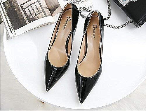 Hhor Escarpins Simples Chaussures Femmes fraîches fraîches fraîches Talons Hauts Femme Pointu Bien avec des Chaussures de Mariage Chaussures de Mariage Femme (Couleuré   34, Taille   noir 8CM) d4e