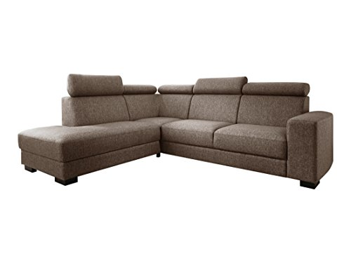 Atlantic Home Collection OLAF Ecksofa, Recamiere links, Stoff, braun, 270 x 218 x 105 cm