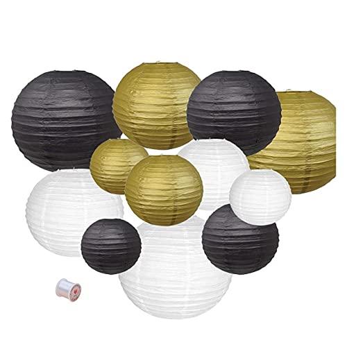 SHAOXI Lámparas de Linterna de Papel 12 PCS Gold White Black Paper Linternas 6'8' 10'12' China Japonés Lámpara Decorativa Lanterna para la decoración al Aire Libre de la Boda para Fiestas, cumpleaños