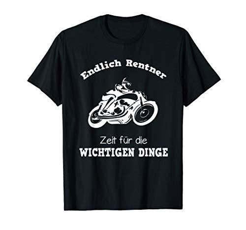 Herren Endlich Rentner Spruch T-Shirt Motorrad Biker T-Shirt
