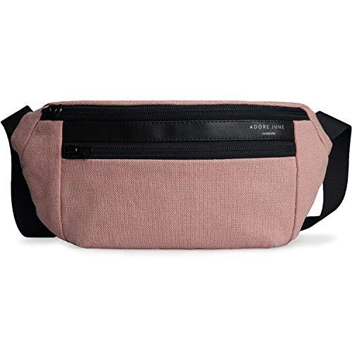 Adore June Bauchtasche Reto Rosa, Große Hip Bag Gürteltasche für Damen & Herren, Zeitloses Design Wasserabweisend - Gefertigt in Europa