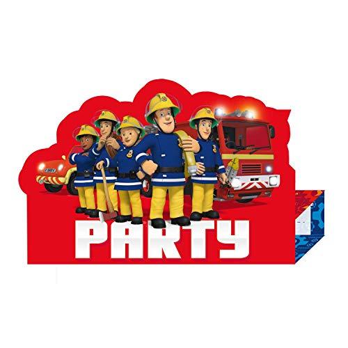 Amscan 9902184 - Einladungskarten Feuerwehrmann Sam, 8 Stück, Größe 10,9 x 16 cm, Karten mit weißen Umschlägen, Einladung, Pontypandy, Feuerwehr, Geburtstag, Mottoparty, Party, Helden, Karneval