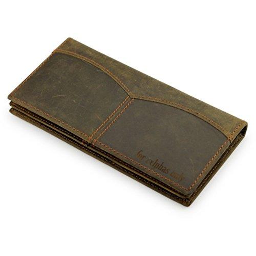 A.P. Donovan - Geldbörse Herren - flach - mit und ohne Münzfach - (Leder und Holz) - Geldbeutel - Geldtasche - Portemonnaie - Kreditkarten-Etui - Braun, 18,5cm x 9cm x 2cm