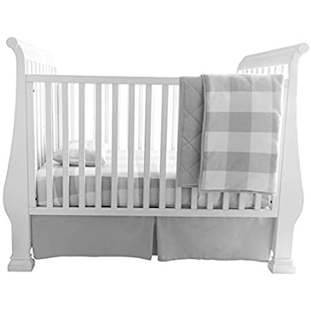 OILO Grey Crib Bedding Grey and White Crib Skirt Solid Crib Skirt Baby Bedding Light Grey Crib Skirt Cotton Crib Bedding Nursery Bedding Crib Skirt Grey Dove Crib Skirt