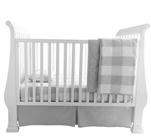 Baby Crib Set 4 Piece, Crib Sheet,Quilted Blanket, Crib Skirt & Baby Pillow Case - Gingham Design (Grey)