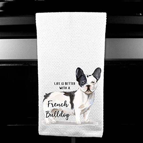 Watercolor Life is Better with a French Bulldog,'Frenchie' Microfiber Kitchen Tea Bar Towel Gift for Animal Dog Lover