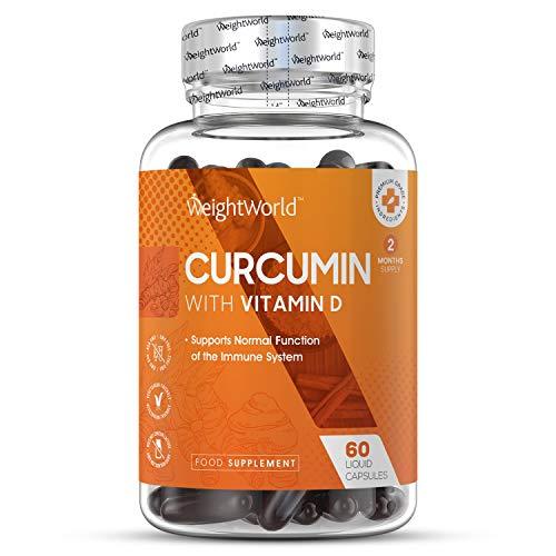 Premium Curcuma Kapseln mit Vitamin D3 - Laborgeprüft in Deutschland - Curcumin 185x höhere Bioverfügbarkeit in nur 1 Kapsel - 500mg Kurkuma Hochdosiert und Vitamin D Tagesbedarf