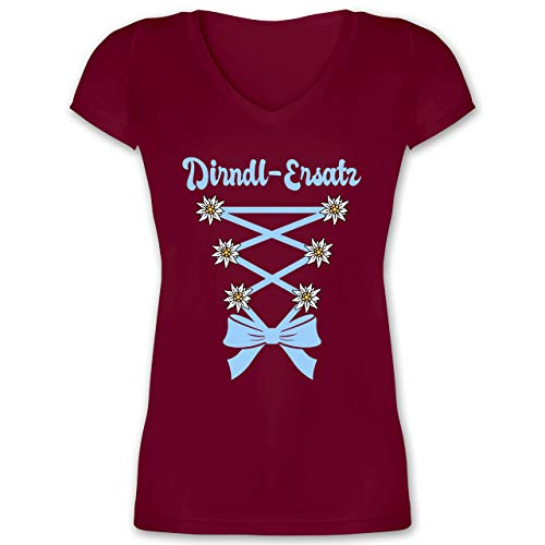 Oktoberfest & Wiesn Damen - Dirndl-Ersatz Korsage - hellblau - XXL - Bordeauxrot - Damen Dirndl - XO1525 - Damen T-Shirt mit V-Ausschnitt