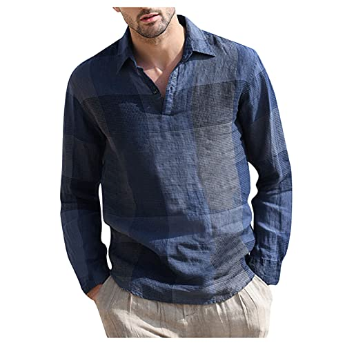 Tops for Men Cotton Linen Vintage Plaid Long Sleeve V-Neck Fashion T-Shirts Autumn Casual Loose Lightweight Blouse Tee (01 Blue, M)