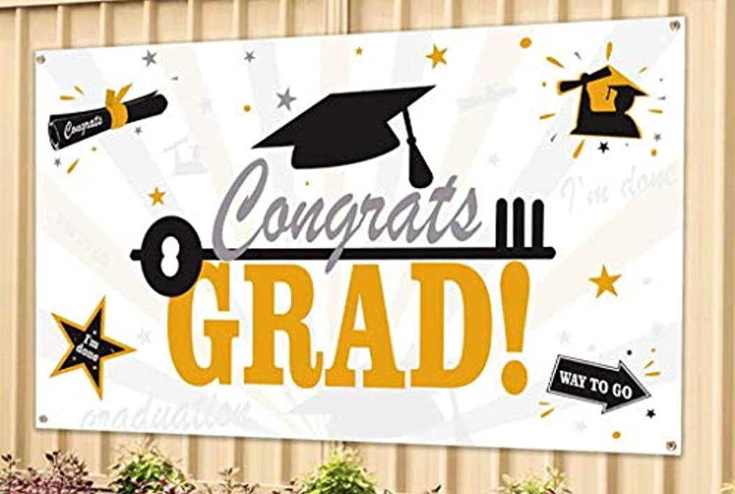 Graduation Party Banner, Stoundgee Fabric Grad Congrats Banner for Graduation Party Supplies 2019, Photo Prop, Booth Backdrop, Graduation Decorations Indoor and Outdoor