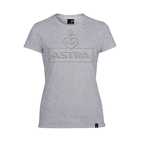 ASTRA Damen T-Shirt Prägung, grau, Damen-Bekleidung, Bier zum Anziehen als T-Shirt Print, mit dem typischen Herz-Anker, Geschenk-Idee für Frauen (M)