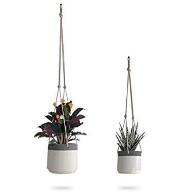 Ceramic Hanging Planter | White Gray Succulent Pots | Round Plant Holder Container | Cactus Pot with Cotton Rope Hanger | Indoor Outdoor Decor | 23 Bees (2 Pack x White)