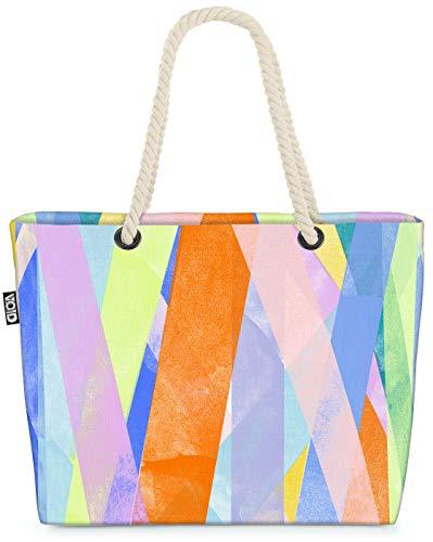 VOID Bunte Flächen Pastell Strandtasche Shopper 58x38x16cm 23L XXL Einkaufstasche Tasche...