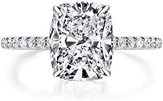 Bo Dream Cushion Cut 3ct Cubic Zirconia CZ Platinum Plated Sterling Silver Engagement Rings product image