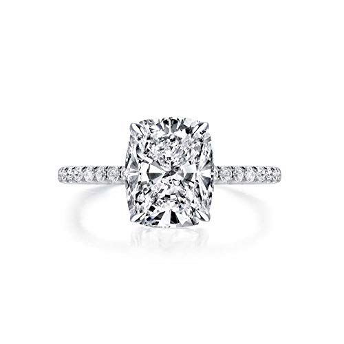 Bo.Dream Cushion Cut 3ct Cubic Zirconia CZ Platinum Plated Sterling Silver Engagement Rings (5.5)