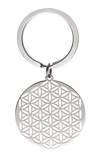 cooltime Llavero de acero inoxidable con colgante de flor de la vida, diseño de mandala circular, estilo 3 (Plateado) - 20191107